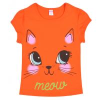 """20-102204 """"Meow"""" Футболка для девочки, 4-8 лет, оранжевый"""