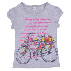 "20-102209 ""Flowers In Bike"" Футболка для девочки, 4-8 лет, серый"