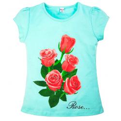 """20-103201 """"Rose.."""" Футболка, 8-12 лет, ментоловый"""
