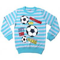 """20-112807 """"Футбол"""" Джемпер для мальчика, 5-8 лет, полоса-бирюзовый"""