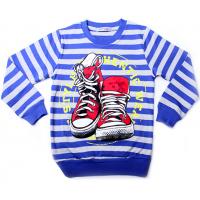 """20-112811 """"Sneakers"""" Джемпер для мальчика, 5-8 лет, полоса\синий"""