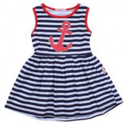"""20-116903 """"Морское"""" Платье для девочки, 2-5 лет, т-синий"""