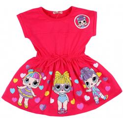 """20-11714 """"LOL"""" Платье для девочки, 3-7 лет, коралловый"""