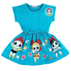 """20-11713 """"LOL"""" Платье для девочки, 3-7 лет, изумрудный"""