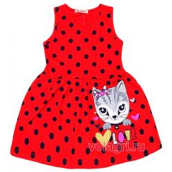 20-117201 Платье для девочки, 3-7 лет, красный