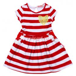 """20-117301 """"Полоска"""" Платье для девочки, 2-6 лет, красный"""