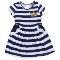 """20-117304 """"Полоска"""" Платье для девочки, 2-5 лет, т-синий"""