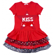 """020-117701 """"STAR"""" Платье для девочки, 5-8 лет, красный"""