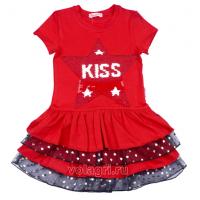 """20-117701 """"STAR"""" Платье для девочки, 5-8 лет, красный"""