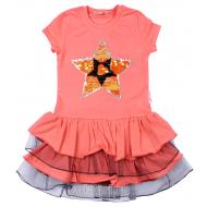 """020-117702 """"STAR"""" Платье для девочки, 5-8 лет, коралловый"""