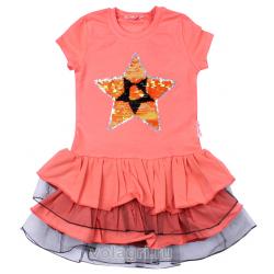 """20-117702 """"STAR"""" Платье для девочки, 5-8 лет, коралловый"""