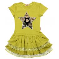 "020-117703 ""STAR"" Платье для девочки, 5-8 лет, олива"