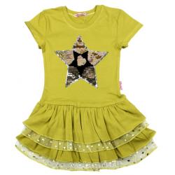 "20-117703 ""STAR"" Платье для девочки, 5-8 лет, олива"