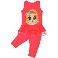 45-11833 Комплект для девочек с лосинами, 2-5 лет, красный