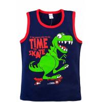 "20-120207 ""Dino"" Майка для мальчика, 3-7 лет, т-синий"