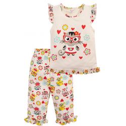 20-12165 Пижама для девочки, 3-7 лет, молочный