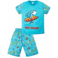 "020-121705 ""Shark"" Пижама летняя, 3-7 лет, голубой"
