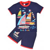 "20-202102 ""Sail Boat"" Костюм для мальчика, 4-8 лет, т-синий"