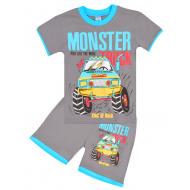 "20-202110-5 ""Monster"", костюм для мальчика, 4-8 лет, серый"