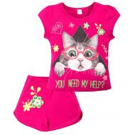 """20-202201 """"Cat"""" Костюм для девочки, 4-8 лет, малиновый"""
