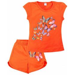 """20-202206 """"Бабочки"""" Костюм для девочки, 4-8 лет, оранжевый"""