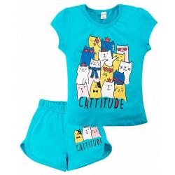 """20-202207 """"Cattitude"""" Костюм для девочки, 4-8 лет, бирюзовый"""