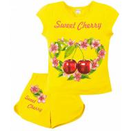 """20-202208 """"Cherry"""" Костюм для девочки, 4-8 лет, желтый"""
