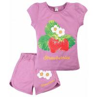"20-202209 ""Strawberries"" Костюм для девочки, 4-8 лет, сиреневый"