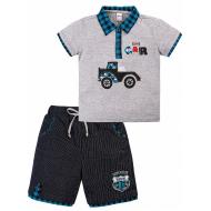 "20-34001 ""CAR"" Костюм для мальчика, 2-5 лет, меланж\бирюза"