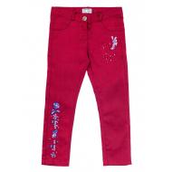 20-4022 Брюки джинсовые для девочки, 5-8 лет, бордовый