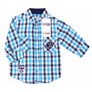 20-5651R Рубашка в клетку для мальчика, поплин, 2-6 лет, синий