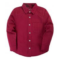 """20-83501C Рубашка для мальчика под """"джинсу"""", 6-10 лет, бордовый"""