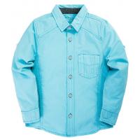"""20-83504C Рубашка для мальчика под """"джинсу"""", 6-10 лет, голубой"""