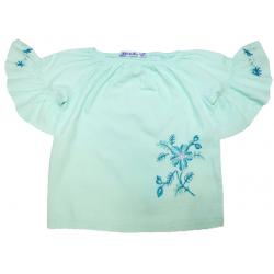 20-84402 Блузка сатиновая для девочки, 3-7 лет, минт