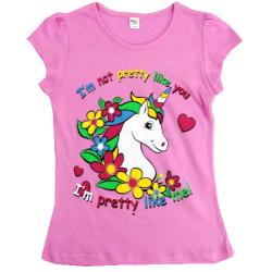 45-480283 Футболка для девочки, 4-8 лет, розовый