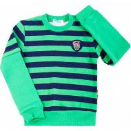 08-581103 Джемпер в полоску для мальчика, 5-8 лет, зеленый