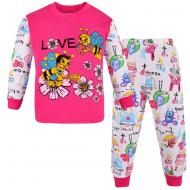 100-148201 Пижама для девочки, интерлок, 1-4 года, фуксия