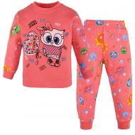 100-148203 Пижама для девочки, интерлок, 1-4 года, коралловый