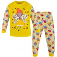 100-148204 Пижама для девочки, интерлок, 1-4 года, жёлтый