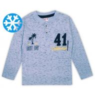 47-141209 Джемпер-поло утепленный для мальчика, 1-4 лет, св-голубой