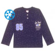 47-141214 Джемпер-поло утепленный для мальчика, 1-4 лет, индиго