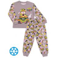 47-588101 Пижама с начесом для мальчика, 5-8, серый