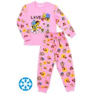 47-148206 Пижама с начесом для девочки, 1-4, розовый