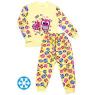 47-148207 Пижама с начесом для девочки, 1-4 года, св-желтый