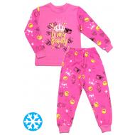 47-148208 Пижама с начесом для девочки, 1-4, малиновый
