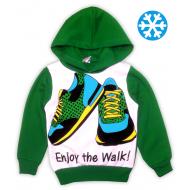 47-371102 Толстовка с капюшоном для мальчика, 3-7 лет, зеленый