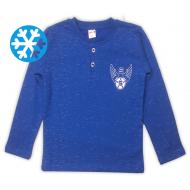 47-581204 Джемпер-поло утепленный для мальчика, 5-8 лет, синий