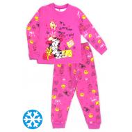47-588203 Пижама с начесом для девочки, 5-8 лет, малиновый