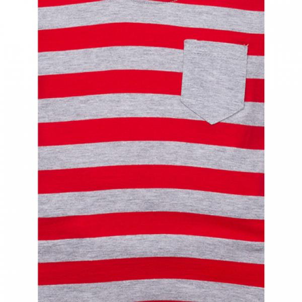 11-371112 Джемпер в полоску с карманом, 3-7 лет, красный