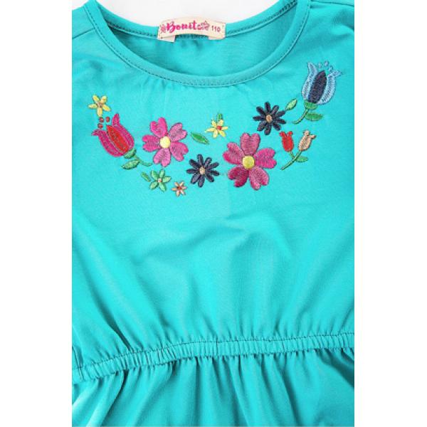 20-112402 Платье-туника для девочки, 3-7 лет, бирюзовый